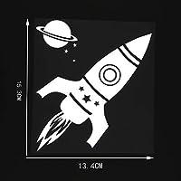 車のステッカーの装飾 13.4X15.3CMパーソナリティビニールデカールロケットスペースプラネットカーステッカーブラック/シルバー (Color Name : Silver)