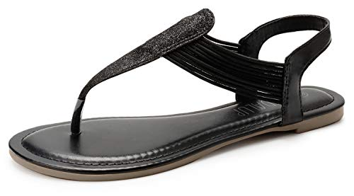 SANDALUP Women's Elastic Strappy Flat Sandals w Sparkling Thong Sandals for Women Black 08.5