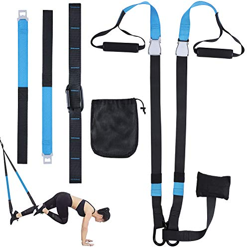 Femor Allenamento in Sospensione,Allenamento Sospensione per Fitness Body Training, con Ancoraggio della Porta e Cintura di prolunga, di Utente Carico Fino a 400kg per l allenamento