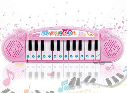 Popsugar - THPI6614P Mini Muscial Keyboard with 24 Keys for Kids, Pink