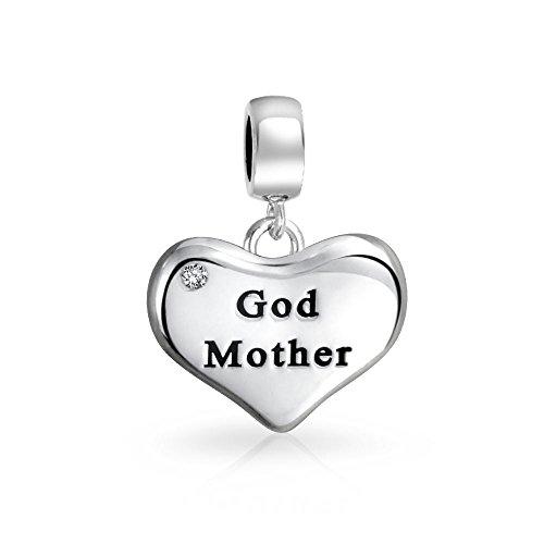 Bff Dio Madre Parola Inciso Forma Di Cuore In Cristallo Bianco Penzolare Il Fascino Del Tallone Sterling Argento