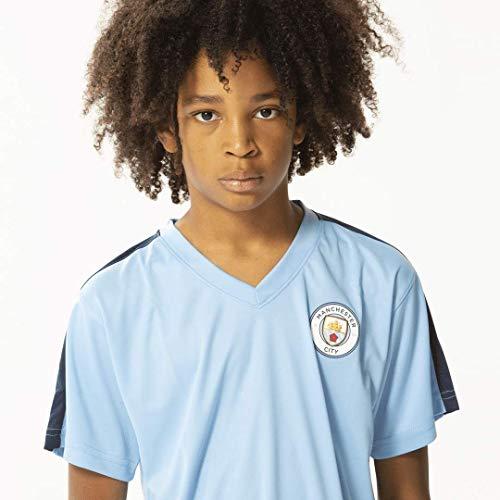 Manchester City Morefootballs - Offizielles Heimspiel Trikot Set für Kinder | Saison 19/20 Größe 164 | Vollständiges Heim Tenue mit Trikot und kurzer Hose | 100% Polyester Fußball Shirt und Shorts