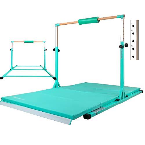 PreGymnastic Updated No Wobble Expandable Gymnastics Kip Bar with Fiberglass Rail & 304 Stainless Steel Regulating Arms, Adjustable Height 3'-5' Gymnastics Bar (Teal1(c/w Mat1))
