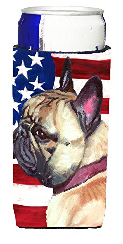 Caroline's Treasures LH9545MUK French Bulldog Frenchie USA Patriotic American Flag Ultra Beverage Insulators for slim cans, Slim Can, multicolor
