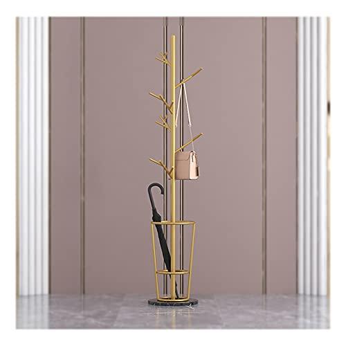 OFFA Perchero independiente con soporte para paraguas, percha de metal, moderno, de hierro, para pasillo o dormitorio comercial, base redonda, color negro (color: dorado)