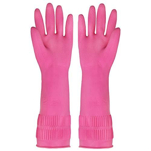 Guantes impermeables para limpieza del hogar y lavandería de goma, resistentes al agua, engrosamiento de 1 cama doble