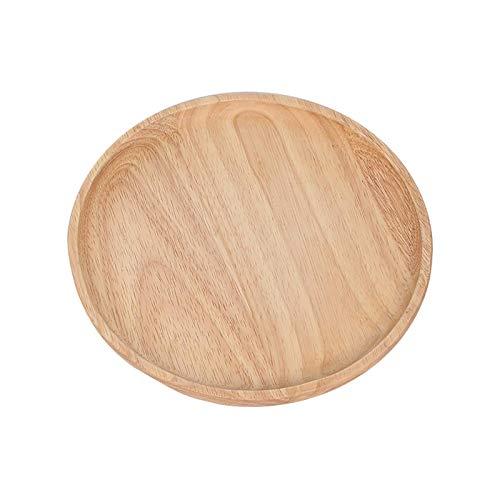 Sdesign Plato de Madera de Madera, Placa de Cena de Bandeja Redonda de Placa de Sushi Plato de Cena de Pizza Plato de Madera Plato (Size : 200mm)