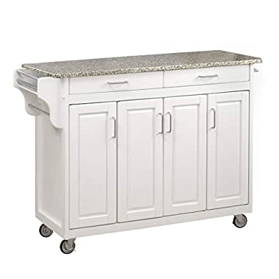 Create-a-Cart White 4 Door Cabinet Kitchen Cart with Gray Granite Top by Home Styles by Home Styles