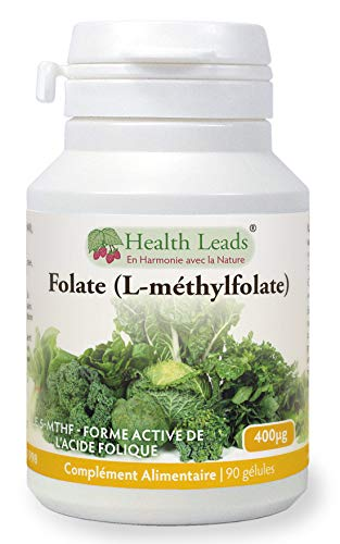 Folate L-Methylfolate 400μg x90 gélules, 5-MTHF Forme active d'acide folique-vitamine B9, Soutient...