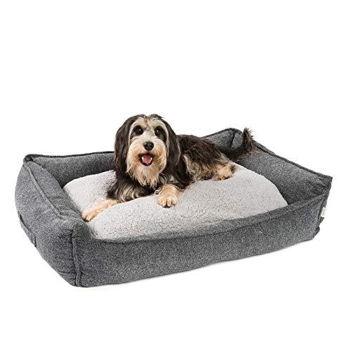 JAMAXX Premium Hundebett Orthopädisch Memory Visco Schaum Waschbar Abnehmbarer Bezug Wasserabweisend - Weiches Sofa Hundekorb Hunde-Körbchen mit Wendekissen / PDB2004 (M) 90x70 grau
