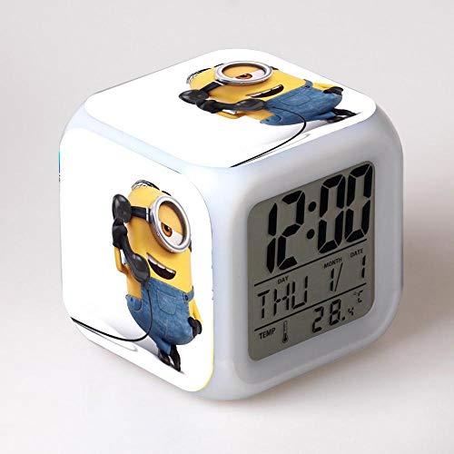 Nachtkastje voor kinderen, digitale wekker met gekleurd LED-nachtlampje, sfeerlicht, wekker, vierkante klok touch-schakelaar, mute-schakelaar met USB-oplaadaansluiting, reizen, kleine wekker, cadeau Q2365