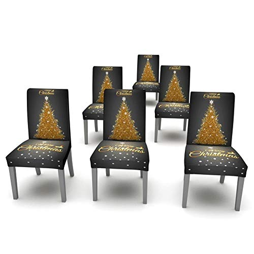 smilerr Christmas 3D Printed Soft Spandex Stretch Chair Cover, Dining Chair Slipcovers Protector or Christmas Table Cover Tablecloth Christmas Decoration for Hote, Party,Home