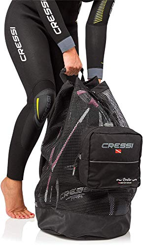 Cressi Heavy Duty Mesh Backpack 90 liters Capacity for Scuba Diving, Water Sport Gear | Roatan: Designed in Italy, Black, One Size (UB936000)