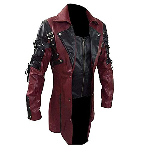 │IMMOA│Men Faux Leather Jacket Vintage Gothic Steampunk Medieval Coats Goth Matrix Trench Coat Renaissance Costumes(Red,M)