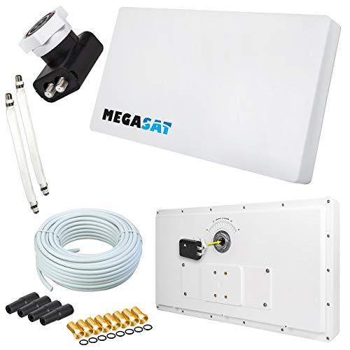 Megasat Flachantenne PROFI Line H30 D2 Twin inkl. Fensterhalterung + 20m Kabel + 2x Fensterdurchführung. Neueste Generation mit besten Empfangswerten für HD und SD TV (einfache und stabile Montage) netshop 25 Set