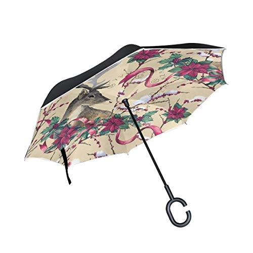 Doppelschichtiger umgekehrter Regenschirm Winddichte Regensonnen-Regenschirme im Freien mit C-förmigem Griff - Hirschtannenbaum und Weihnachtsstern-Blumen