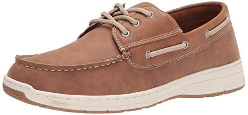 Amazon Essentials Men's Lace Up Boat Shoe Sneaker, Tan, 10 D US