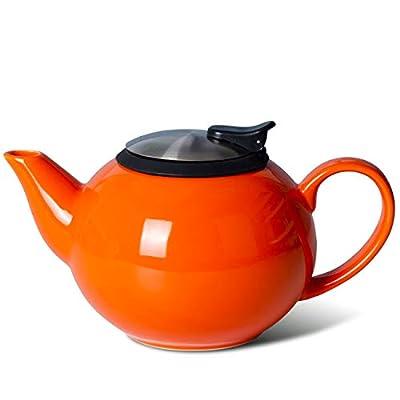 Xiteliy Teapot with Stainless Steel Infuser To Brew Loose Leaf Tea (Orange)