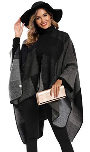 Epsion Women's Color Block Shawl Wrap Plus Size Cardigan Poncho Cape Open Front Long Winter Sweater Coat Black