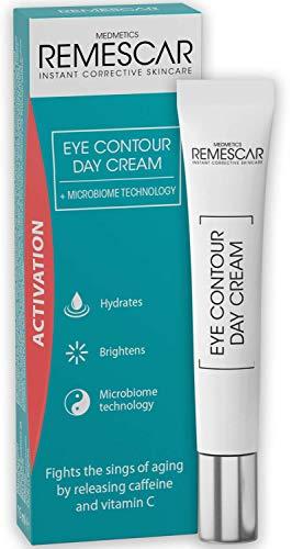 Remescar contorno de ojos Crema de día - Se ha añadido cafeína y vitamina C para reducir los signos del envejecimiento - Suave y dar brillo a la zona del ojo - microbioma Tecnología