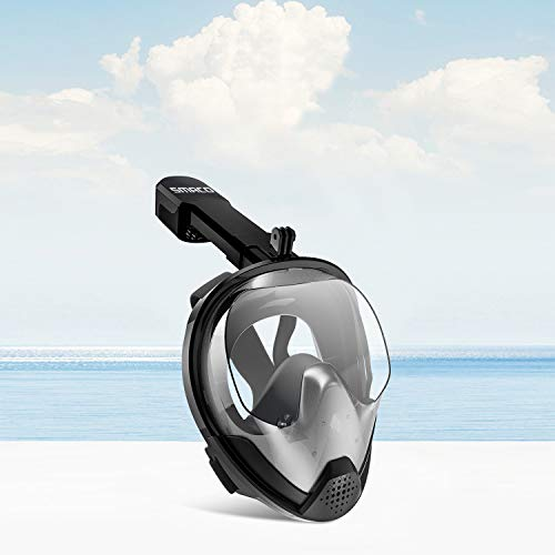 Snorkel Mask Full Face Snorkel Set 180 Panoramic View with Detachable Camera Mount Anti-Fog&Anti-Leak Snorkeling Mask with Latest Breathing System Support Underwater Snorkeling for Adults&Kids, Black