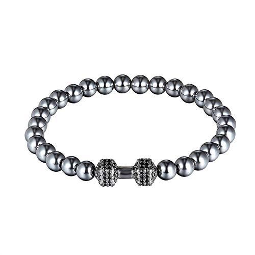 Bracelet Mode Schwarz Cz Hantel Herren Armband Naturstein Hantel Armband Charme Herren Yoga Schmuck As290
