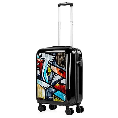 SKPAT - Maleta Estampada Chica Juvenil Viaje Cabina Avión 4 Ruedas Dobles Rígida 20' (40 L.) Aprox. 55x40x20cm Equipaje de Mano Apto Aerolíneas Bajo Coste 132650, Color Negro-Grafitti