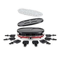h.koenig rp418 raclette per 8 persone, funzione raclette/piastra di cottura in granito/grill/piastra per crepes, 1500w