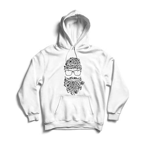 lepni.me Sweatshirt à Capuche Manches Longues Novembre Pas de Rasage, Barbe d'oiseaux, Style Hipster (Small Blanc Multicolore)