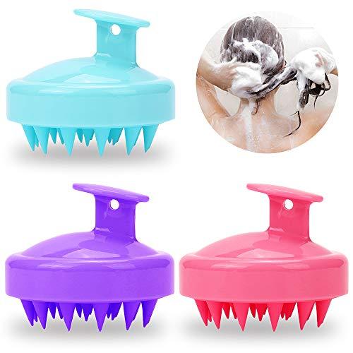 Senhai 3 piezas Silicona Cuero cabelludo Masajeador Champú Cepillo, Cuidado del cuero cabelludo Masaje Baños Peine para mascotas - Rosa Verde Púrpura