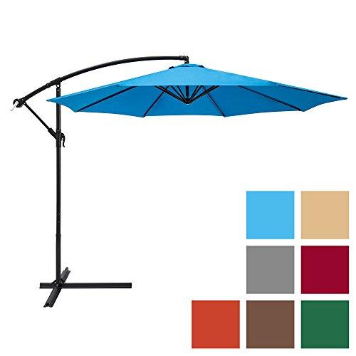 Best Choice Products 10ft Offset Hanging Outdoor Market Patio Umbrella w/Easy Tilt Adjustment - Blue