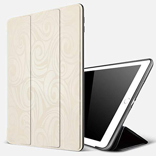 iPad 7 Hülle für iPad 10.2 2019,Elfenbein, viktorianisch geschwungener Renaissance-Stil lässt Zweige künstlerisc,Superdünne Soft TPU Rückseite Abdeckung Schutzhülle mit,Automatischem Schlaf/Aufwach,