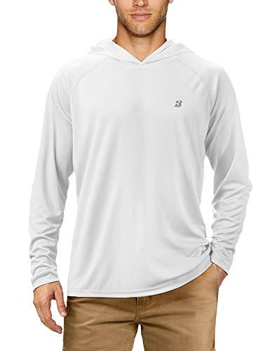 Roadbox Men's UPF50 UV/Sun Protection Quick-Dry hoodies Long Sleeve Shirts For Swim Fishing Goft Hiking White