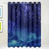 MIMUTI 遮光カーテン 星空夜空深宇宙 断熱 見えにくい 保温 防寒 洗える 部屋/客間/リビングルームに適用 2枚組 (幅100×丈178cm)