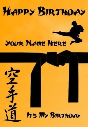 Personalisierte A5 Karate Judo Taekwondo schwarzer Gürtel Geburtstagskarte refPDS62