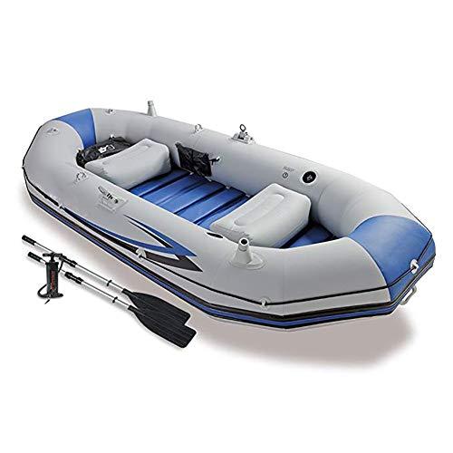 DMBHW Barca d'assalto 3-Person Canotto Gonfiabile Il Motore può Essere installato Scialuppa di Salvataggio Gommone Marine Addensare Materiale in PVC con Oars e Pompa d'Aria