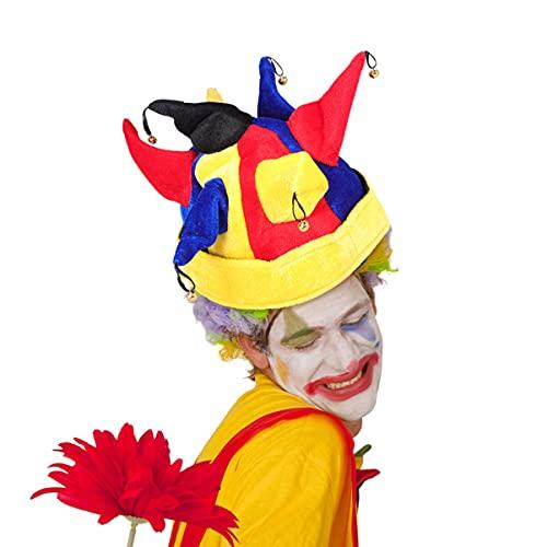 Generico cappello da pagliaccio Jingle Bell multicolore cappello da pagliaccio arlecchino elfo costume accessorio carnevale prestazioni copricapo per adulti donne uomini