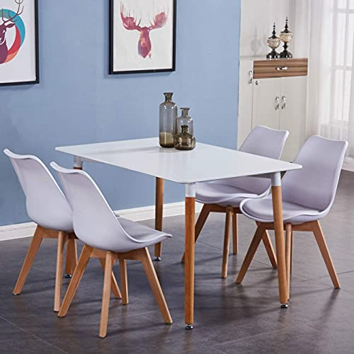 GOLDFAN Dining Table and Chairs Set 4 High Gloss Kitchen Table and PU Leather Cushion Chairs Dining Table Set, White/120cm