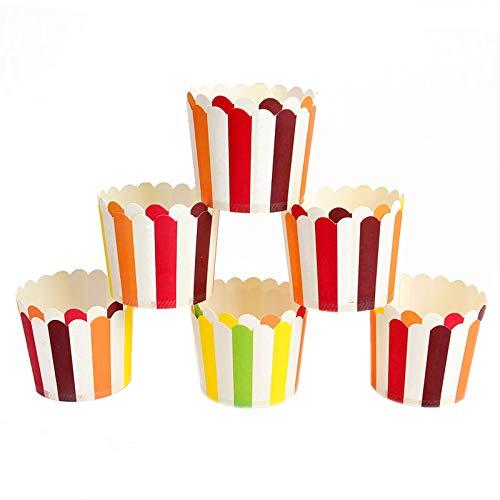HXGL-Drum Forros para Magdalenas Vasos para Muffins de Papel Coloridos Soportes para Magdalenas Estuches antiadherentes para Muffins Moldes para Decoraciones de Fiestas y Decoraciones navideñas