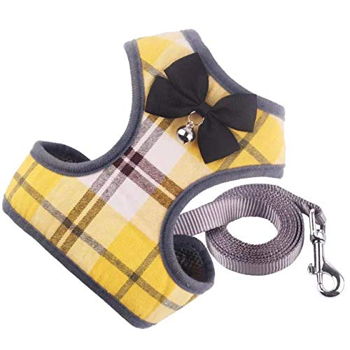 N.A Harness Vest Set Easy to Put On & Take Off Dog Harness, Puppy Padded Mesh Front Vest with Leash, Adjustable Pets No-Pull Walking Harness with Cute Bows for Small Dogs and Cats (Large, Yellow)
