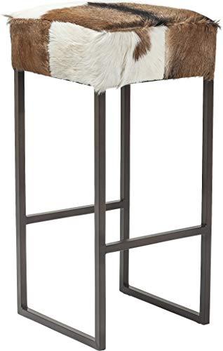 Kare Barhocker Country Life, 80203, Kleiner, Schmaler, hoher Hocker mit Ziegenfell bezogen, braun-weiß (H/B/T) 74 x 35 x 35 cm