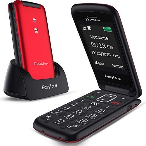Easyfone Prime-FLIP GSM Telefono Cellulare a Conchiglia per Anziani, Tasti Grandi, Volume alto, Facile da usare con tasto SOS e base di ricarica (rosso)