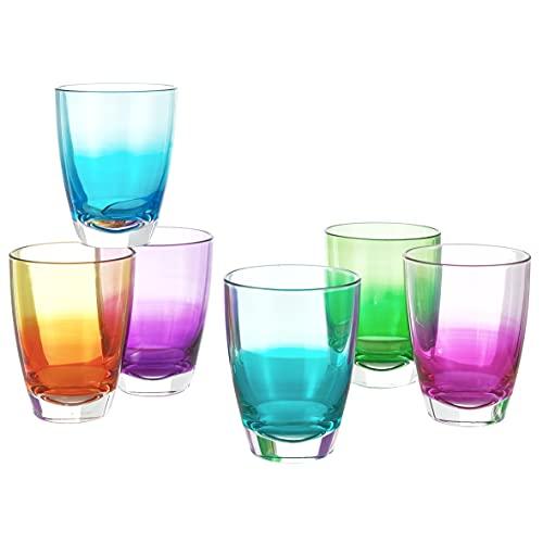 MONTEMAGGI Juego de 6 vasos de cristal fabricados en Italia (color)