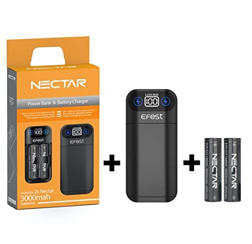 Nectar Cargador 18650 + Power Bank | Doble Uso: Cargador 18650 + Banco de Energía - con 2X 3000mah Bateria 18650 Recargable de Alto Drenaje (Incluye 2X Baterías 18650)