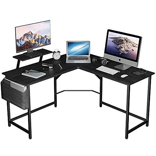 Pureegg l字デスク サイドポケット・アジャスター付き 勉強机 ㍶デスク パソコン デスク 組立簡単 在宅ワーク デスク 傷・汚れ・水分・熱に強い 省スペース ブラック
