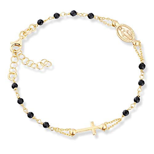 MiaBella 18K Gold Over 925 Sterling Silver Italian Natural Black Spinel Rosary Cross Charm Bead Bracelet for Women Teen Girls, Adjustable Link Chain 6 to 8 Inch Handmade in Italy (7