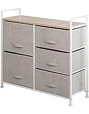 Soges Fabric Organizer Unit 5 Drawer Storage Dressing Bedroom Dressers Storage Unit, Closet Storage