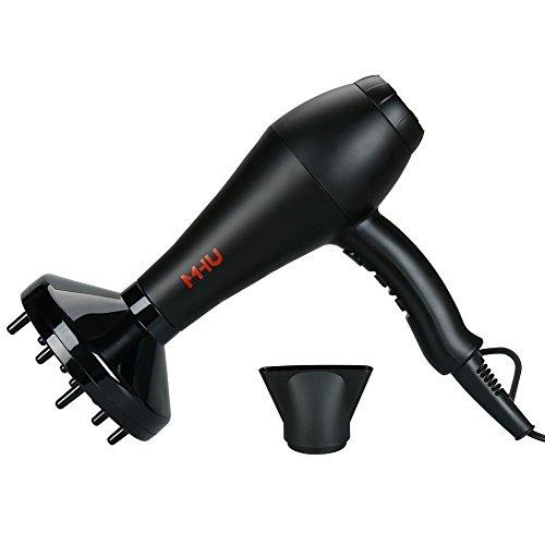 MHU Secador de pelo profesional 1800W iones negativos secador calor infrarrojo lejano 2 de velocidad y 3 Ajuste de calor frío desmontable apego concentrador y difusor