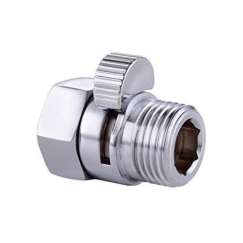 CRW Shower Head Flow Control Valves Shut-Off Valve Solid Brass for Shower Head Hand Shower Bidet Sprayer Chrome Finish