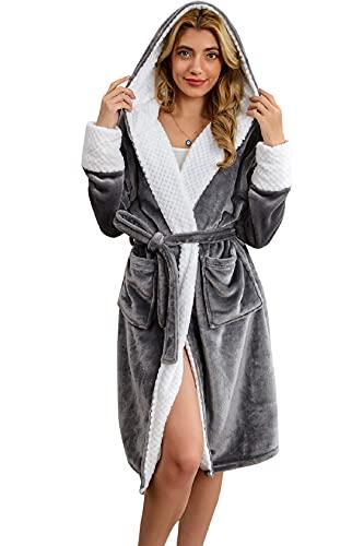 Tuopuda Bademantel Damen Morgenmantel Lang Hausmantel mit Kapuze Nachtwäsche Flauschig Kimono Kleider Robe Winter Warm Loungewear 2 Taschen Gürtel Damen Geschenke, grau, Einheitsgröße